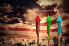 Composite image of rockets for fireworks Royalty Free Stock Photos