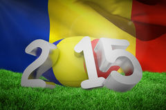 Composite image of romania rugby 2015 message. Romania rugby 2015 message  against waving flag of romania Royalty Free Stock Images