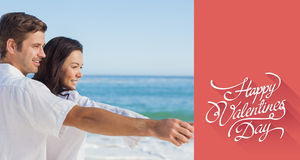 Composite image of romantic couple relaxing on the beach Royalty Free Stock Photography