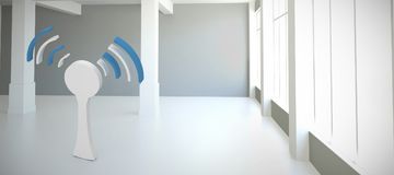 Composite image of router wifi symbol. Router wifi symbol against modern white room with window Royalty Free Stock Images