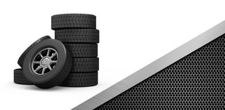 Composite image of row of tyres Royalty Free Stock Photography