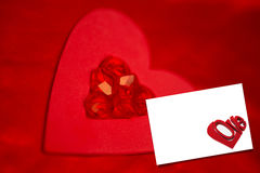 Composite image of rubies and paper red heart Royalty Free Stock Photos