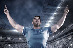 Composite image of rugby player cheering and pointing Stock Images