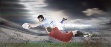 Composite image of a rugby player scoring a try Stock Image