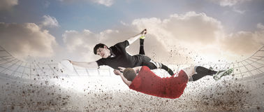 Composite image of a rugby player scoring a try Royalty Free Stock Photos