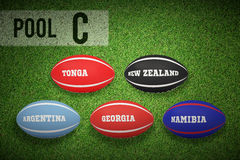 Composite image of rugby world cup pool c Royalty Free Stock Images