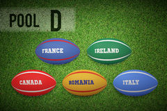 Composite image of rugby world cup pool d Stock Image