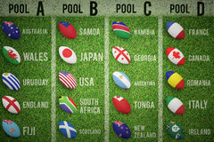 Composite image of rugby world cup pools Royalty Free Stock Photography