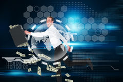 Composite image of running businessman Royalty Free Stock Photo