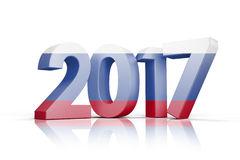 Composite image of russia national flag. Russia national flag against illustration of new year number Royalty Free Stock Photo