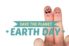Composite image of sad fingers. Sad fingers against save the planet Stock Photo