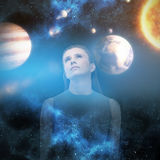 Composite image of sad woman looking up 3d Royalty Free Stock Photo