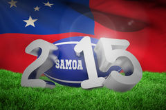 Composite image of samoa rugby 2015 message. Samoa rugby 2015 message  against samoan flag over white background Stock Images