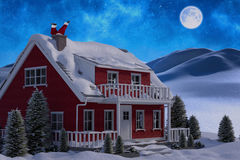 Composite image of santa claus has fun with a guitar Royalty Free Stock Photo