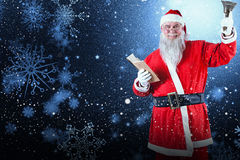 Composite image of santa claus holding bible and bell. Santa Claus holding bible and bell against snowflake pattern Stock Photo