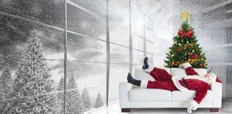 Composite image of santa claus taking a nap Stock Photos