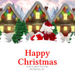Composite image of santa delivery presents to village Stock Image