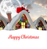 Composite image of santa delivery presents to village Royalty Free Stock Photography