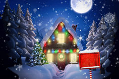 Composite image of santa sign Royalty Free Stock Photo