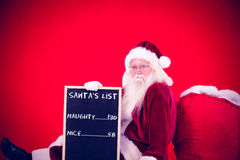 Composite image of santa sits leaned on his bag with a board Stock Image