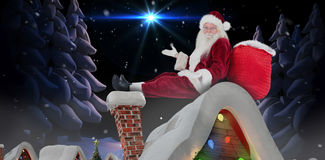 Composite image of santa sits leaned on his bag and has no clue Royalty Free Stock Photo