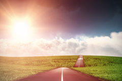 Composite image of scenic view of bright sun over white cloudscape Royalty Free Stock Photo