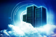 Composite image of scenic view of white fluffy clouds 3d. Scenic view of white fluffy clouds against spiral of shiny binary code 3d Stock Images