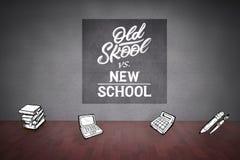 Composite image of school doodles. School doodles against dark room with floorboards Stock Images