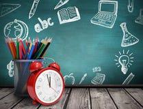 Composite image of school supplies. School supplies against green chalkboard vector illustration