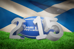 Composite image of scotland rugby 2015 message. Scotland rugby 2015 message  against flag of scotland Royalty Free Stock Photo