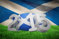 Composite image of scotland rugby 2015 message. Scotland rugby 2015 message  against flag of scotland Royalty Free Stock Photography
