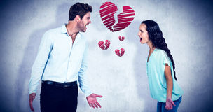 Composite image of screaming couple having argument Stock Photography