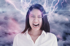Composite image of screaming woman Royalty Free Stock Photos
