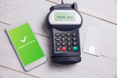 Composite image of screen showing payment successful with tick Stock Photography