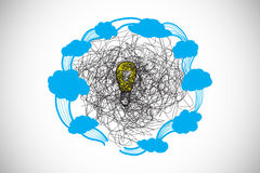Composite image of scribble over light bulb with clouds doodle Royalty Free Stock Image