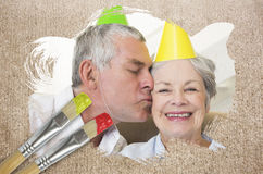 Composite image of senior couple celebrating birthday Stock Photos