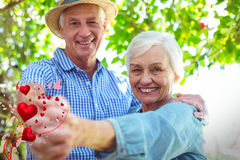 Composite image of senior couple and valentines hearts 3d Stock Images