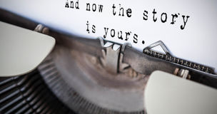 Composite image of a sentence. A sentence  against a printer Royalty Free Stock Photos