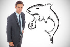 Composite image of serious businessman standing with hand on hip. Serious businessman standing with hand on hip against loan shark illustration Stock Images