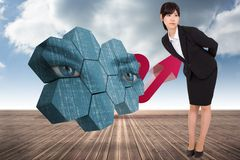 Composite image of serious businesswoman bending Royalty Free Stock Photography