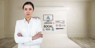 Composite image of serious businesswoman with crossed arms Royalty Free Stock Photography