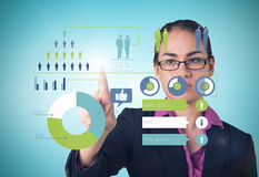 Composite image of serious businesswoman pointing Stock Image