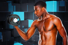 Composite image of serious fit shirtless young man lifting dumbbell Stock Images