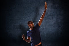 Composite image of serious young man with hand gestures Royalty Free Stock Photography