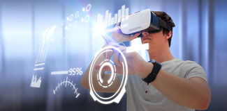 Composite image of serious young man using virtual reality glasses. Serious young men using virtual reality glasses against empty chairs and table in boardroom Stock Image