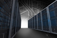 Composite image of server hallway Royalty Free Stock Photo