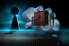 Composite image of server towers on abstract screen Royalty Free Stock Photos