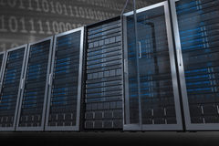 Composite image of server towers. Server towers against shiny blue binary code on black background stock illustration