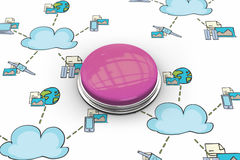 Composite image of shiny pink push button Royalty Free Stock Images