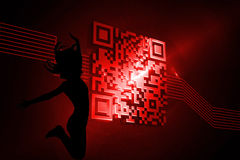 Composite image of shiny red barcode on black background Royalty Free Stock Photography